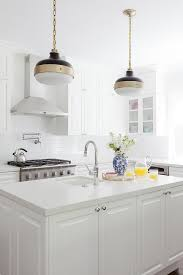 white kitchen with murray feiss cadence 2 light pendants