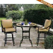 safford swivel sling seat aluminum patio bar height chairs. origin cast aluminum patio swivel bar group 3 pc safford sling seat height chairs