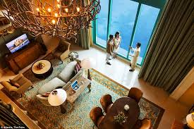 underwater hotel room at night. Dubai Hotel\u0027s Underwater Suites Offer Views Directly Into An Aquarium Hotel Room At Night