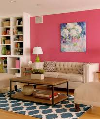 Pink And Green Living Room Living Room Decorating With Colors With Pink Wall And Wall Art And