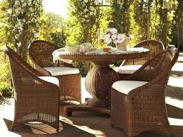 wicker table set palmetto all weather wicker round pedestal dining table set honey traditional outdoor wicker