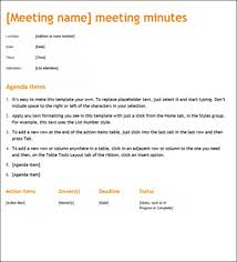 Simple Minutes Of Meeting Sample Sample Meeting Minute Templates Formal Word Templates
