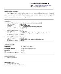 Simple Sample Resume For Freshers Gentileforda Com