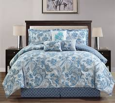 11 piece paisley blue white bed in a bag w 600tc cotton sheet set king