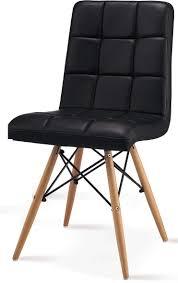 Stuhl Retro Lounge Eckig Kunstleder Schwarz