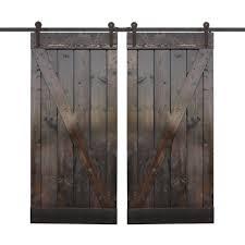 dark chocolate stain wood double barn door with