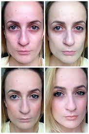 blush before and after. before and after (no edit): full face with no makeup green corrector to cover redness foundation, blush, concealer, brows + one eye - done blush f