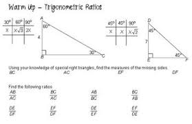 Sohcahtoa Chart Lesson Plan Trigonometric Ratios Sohcahtoa Projects To