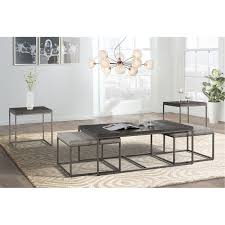 gray metal nesting coffee table with 2