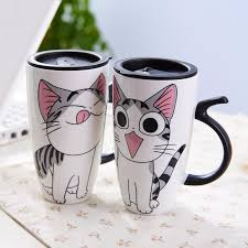 cute mugs online. Modren Cute Cute Cat Ceramics Mug With Lid Large Capacity 600ml Mugs Coffee Milk Tea  Cups Novelty Gifts Customized Online Travel From  Throughout