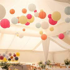 Paper Flower Balls To Hang From Ceiling Us 0 53 30 Off 1pcs 10 15 20 25 30cm Round Paper Lantern Paper Flower Balls Honeycomb Ball Hanging Lanterns For Wedding Party Decoration 8z In