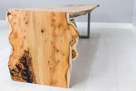live edge english yew slab coffee table