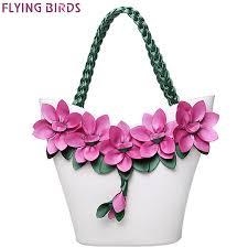 flying birds women pouch vintage leather flower composite designer tote handbag