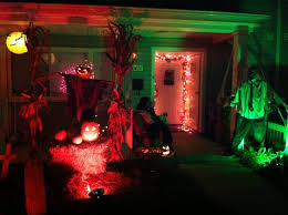 Terrace Halloween Decor With Jack O Lantern Details And Spooky Lighting  Ideas Also Graveyard Background
