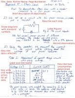 Lab Notebook Example Lab Notebook Physics 250