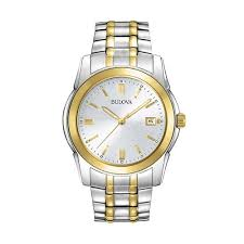 men s dress two tone stainless steel watch 98h18 bulova men s dress two tone stainless steel watch 98h18