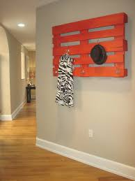 Homemade Coat Rack Tree Orange Wooden Board Having Silver Steel Coat Hook Hanging On Grey 64