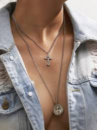 new fashion jewelry vine mary cross pendant choker necklace for women two layers chain necklace