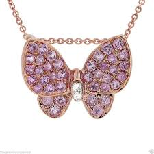 0 39tcw 18k rose gold natural diamond pink sapphire erfly pendant necklace