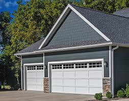 recessed panel garage door with rectangular windows