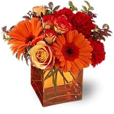 Best Flower Arrangements and Designs: Red and Orange Flower Centerpiece in  Glass Square Vase