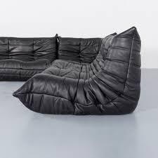 Ligne Rose Togo Designer Sofa Black Leather Two Seat Retro