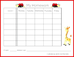 Homework Chart Template For Teachers Child Reward Chart Template Corporateportraits Info