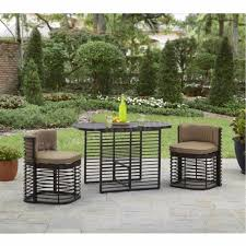 space saving patio furniture. Space Saving Patio Dining Set 3 Pc Outdoor Deck Balcony Compact Bistro Cafe Bar Furniture