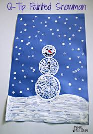 Q-tip Painted Snowman Craft - such a fun winter craft for kids. They