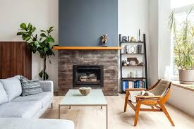 blue fireplace living room accent wall fireplace