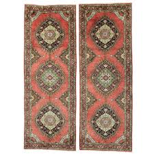 pair of vintage turkish oushak runners with mid century modern style for at 1stdibs