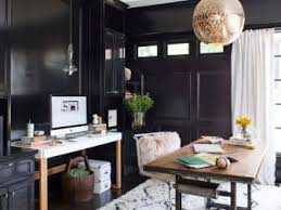 Glamorous Black Home Office With Pendant Light And White Rug