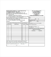 Repair Order Form Amazing Auto Repair Shop Template Naserico