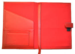 red forever leather planner inside