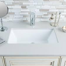 Hahn Ceramic Medium Rectangular Bowl Undermount White Bathroom ...