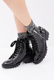 patent faux leather combat boots from forever 21