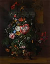 Roses, Convolvulus, Poppies, and Other <b>Flowers in an</b> Urn on a ...
