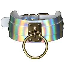 jn gothic punk laser leather choker holographic collar necklace ring buckle u 11 11 of 12