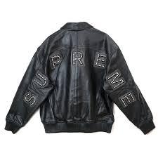 brand name 2018ss supreme studded arc logo leather jacket black