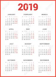 Calendar For 2019 Year On White Background Week Starts Monday