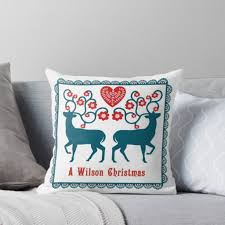 Scandinavian Christmas Deer Throw Pillow - christmas home accessories