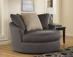 Round Living Room Chair Furniture Oversized Gray Fabric Living Room Barrel Chair With 3