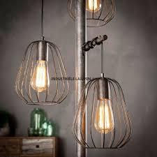 Staande Landelijke Draad Vloerlamp 3 Lichts Oud Zilver