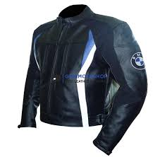 bmw 3876 blue cow leather jacket