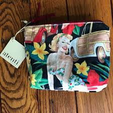 nwt atenti pin up print makeup case carryall