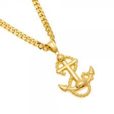 new arrival gold color anchor pendant necklace hip hop stainless steel trendy mens punk navy style charm pendant necklace
