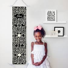 Personalized Canvas Growth Chart With Floral Bone Inlay Design In Black Perfect For Boho Baby Girls Nursery Or Baby Shower Gift