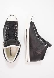 womens leather and textile converse chuck taylor all star high street tumbled leather hi high top trainers black egret trainers special