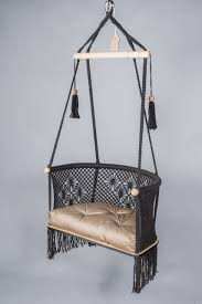 hanging chair in macrame in black the macrame big hanging chair with comfy design come