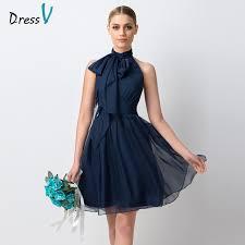 dressv navy blue chiffon short bridesmaid dress 2017 simple knee